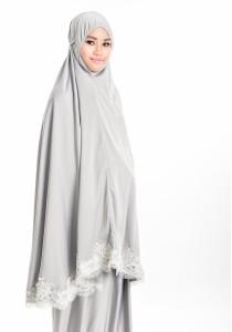 Telekung Lace Siti Aishah (Pastel Grey)