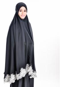 Telekung Lace Siti Aishah (Classy Black)
