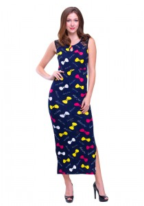 Angel Court Sleeveless Scoop Neck Maxi Dress AC38-5216 (Dark Blue)