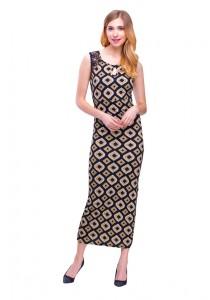 Angel Court Sleeveless Scoop Neck Maxi Dress AC38-5218 (Black)