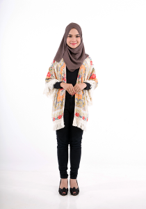 Modest Wrap Printed Cardigan With Fringe Tassel - AIKO