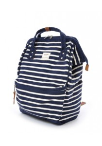 100% Authentic Anello - Zebra Design Cotton Backpack Regular Size Navy and White