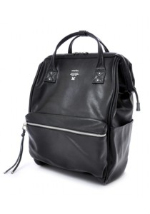 Anello Full Leather Large Size Backpack - Black