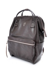 Anello Full Leather Large Size Backpack - Dark Brown