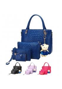 {JMI} 5 in 1 Crocodile PU Leather Hand Bag 68#