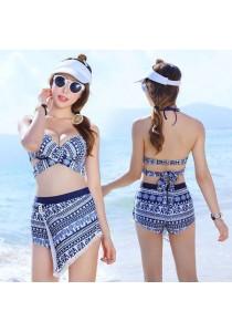 3-In-1 Geometric Blue Bikini