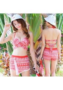 3-In-1 Geometric Red Bikini