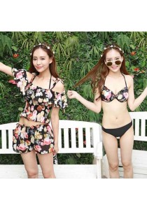 4-in-1 Black Florist Bikini
