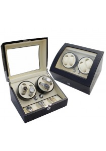 Auto Rotate Winder Watch Box Double Winders (B4+6) Black White