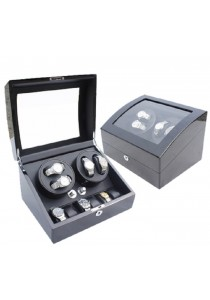 Auto Rotate Winder Watch Box Double Winders (B4+6) Black Black