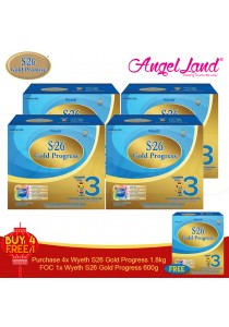 [Buy 4 Free 1] Buy 4x Wyeth S26 Gold Progress (1-3Year)1.8kg+Free 1x Wyeth S26 Gold Progress 600g