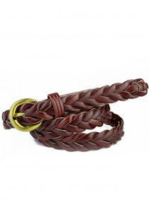 Braided Leather Belt (for all sizes) - Deep Maroon