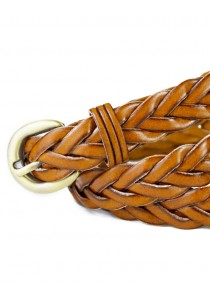 Braided Leather Belt (for all sizes) - Light Brown