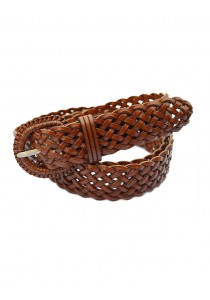 Braided Leather Belt (for all sizes) - Brown