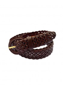 Braided Leather Belt (for all sizes) - Dark Brown