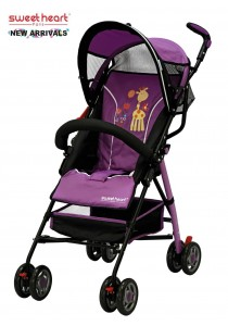 Sweet Heart Paris BG200 Stroller Buggy (Purple) with Steel Frame & Back-Rest Reclining