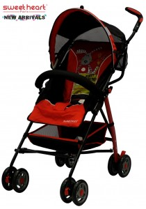 Sweet Heart Paris BG200 Stroller Buggy (Red) with Steel Frame & Back-Rest reclining