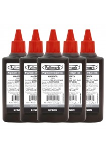 Fullmark Pigment Inkjet Ink 5 Bottles (Magenta) - Compatible with Epson