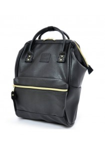 Anello Original Unisex PU Faux Leather Mini Backpack Rucksack Bag (Black)