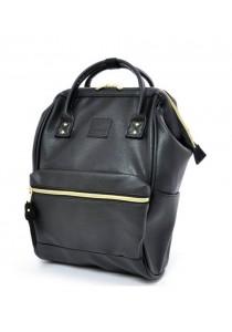 Anello Original Unisex PU Faux Leather Regular Backpack Rucksack Bag (Black)