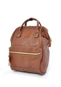 Anello Original Unisex PU Faux Leather Regular Backpack Rucksack Bag (Brown)