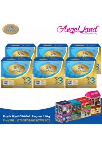 Buy6x Wyeth S26 Gold Progress (1 Years+) Milk 1.8Kg + Foc Full Set Storage Town Box