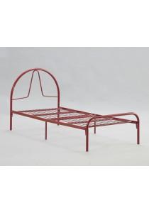 Single Steel Metal Bed (Maroon Red) Diameter 32mm Pipe with Wire Mesh Powder Coating