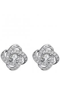 Caron Boutique Swarovski Knot Whitegold Stud Earrings