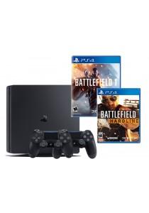 PS4 Slim 500GB Jet Black Bundle (Battlefield 1 + Battlefield Hardline Standard)