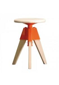 Cadiz Designer Swivel Low Stool - Orange Color