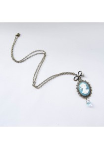 Cameo Vintage Long Necklace (Turquoise) Handmade by Shirleen Jeweliciouss