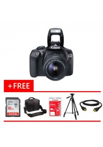 Canon EOS 1300D EF-S 18-55mm Kit DSLR Camera + 16GB + Tripod + Bag + Cleaning Tools + HDMI Cable (Original Malaysia Warranty)