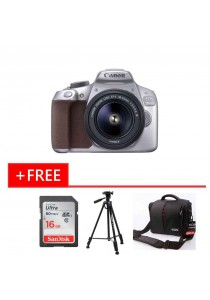 (Limited Edition) Canon EOS 1300D EF-S 18-55mm Kit DSLR Camera Metallic Grey + 16GB + Tripod + Bag (Original Malaysia Warranty)