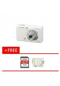 Digital Camera CASIO EXILIM EX-ZR65 (WHITE) FREE 16GB Memory Card + Case