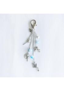 Christmas Joy in Winter Silver Bag Charm (Blue)
