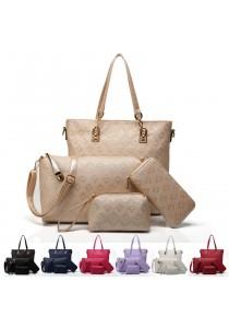 {JMI} 4 in 1 Luxurious Elegance PU Letaher Hand Bag 42#