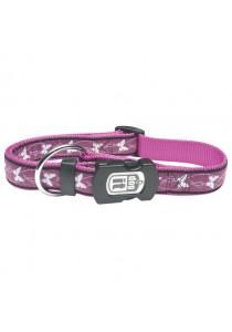 Dogit Style Nylon Ribbon Dog Collar - Butterfly - Purple - Small