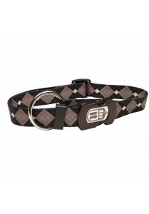 Dogit Style Nylon Print Dog Collar - Argyle - Grey - Small