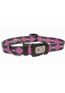 Dogit Style Nylon Print Dog Collar - Argyle - Purple - Large