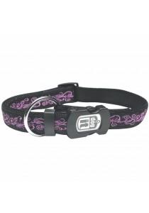 Dogit Style Nylon Ribbon Dog Collar - Urban Edge - Purple - Medium