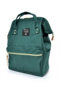100% Authentic Anello (Regular) Backpack - Polyester Canvas Dark Green