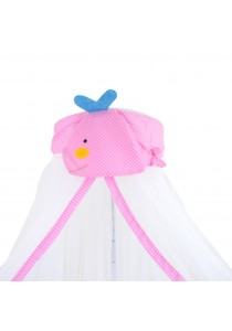 Baby Cot Mosquito Net Pink Whale With Clamp (White)