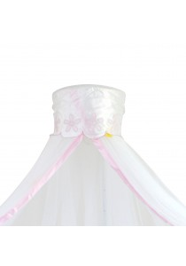 Baby Cot Mosquito Net Pink Floral With Clamp (White)