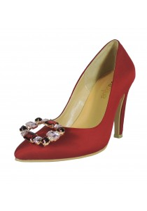 Jacque Audrey Ruby Red with Brooch