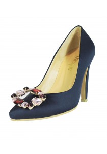 Jacque Audrey Royal Blue with Brooch