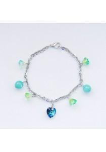 Deepwater Swarovski Heart Silver Bracelet (Blue Green) Handmade by Shirleen Jeweliciouss