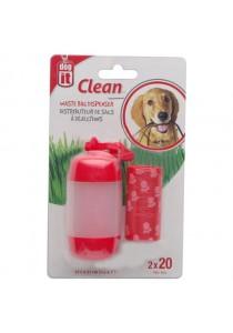 Dogit Bag Dispenser - 2 Rolls/20 Bags - Red
