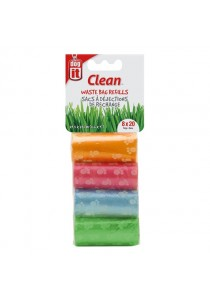 Dogit Waste Bags - 8 Rolls/20 Bags - Assorted Colours