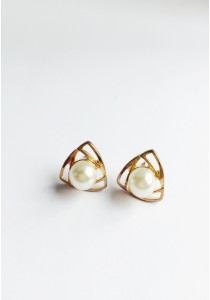 LaBelleD. G. Curvy-Tri Faux Pearl Earrings
