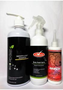Eco Anvison Super Saver 05 - Smooth & Silky Shampoo 400ml, Breeze Sensations Body Fresh Spray 230ml and 3 in 1 Essence  Ear Cleanser 110ml